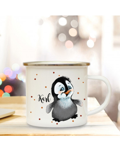 Emaillebecher mit Pinguin & Name Wunschname Campingtasse mit Punkte Kaffeetasse Geschenk eb256
