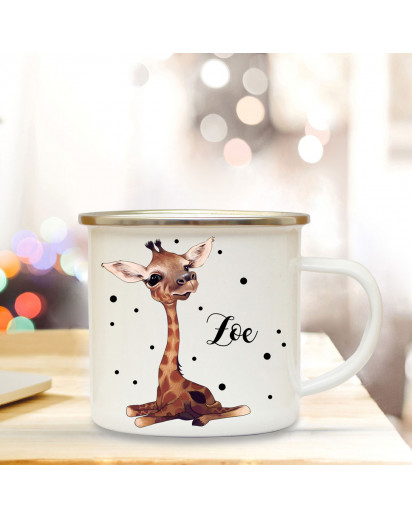 Emaillebecher mit Baby Giraffe & Name Wunschname Campingtasse mit Punkte Kaffeetasse Geschenk eb260