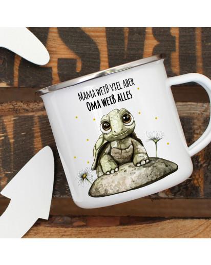 Emaille Becher Camping Tasse mit Babyschildkröte & Spruch Mama weiß viel Oma alles Kaffeetasse Geschenk eb288