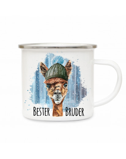 Emaille Becher Camping Tasse Lama mit Mütze & Spruch Bester Bruder Kaffeetasse Geschenk eb293