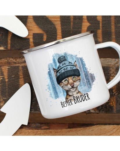 Emaille Becher Camping Tasse Luchs mit Mütze & Spruch Bester Bruder Kaffeetasse Geschenk eb294
