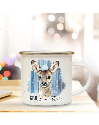 Emaille Becher Camping Tasse Reh Rehkitz mit Schnee & Spruch Beste Schwester Kaffeetasse Geschenk eb295