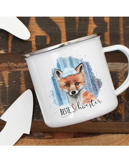 Emaille Becher Camping Tasse Fuchs mit Schnee & Spruch Beste Schwester Kaffeetasse Geschenk eb296