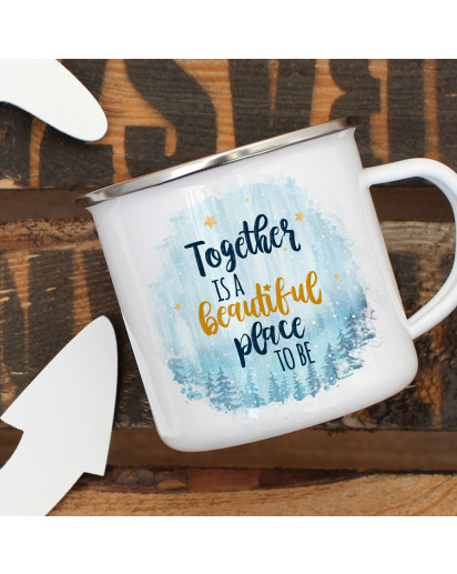 Emaille Becher Camping Tasse mit Spruch Together is a beautiful place to be Kaffeetasse Geschenk Spruchbecher eb323