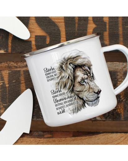 Emaille Becher Camping Tasse Motiv Löwe Löwenkopf Spruch Stärke kommt von Überwindung Kaffeetasse Geschenk Spruchbecher eb336