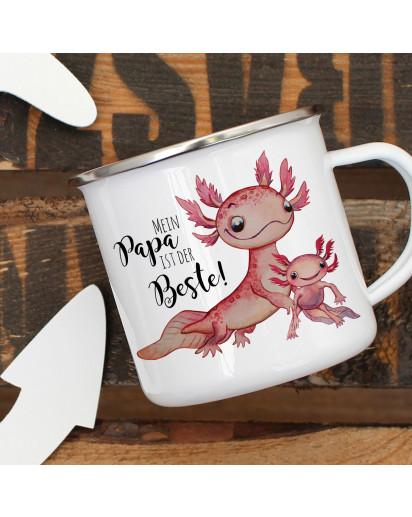 Emaille Becher Camping Tasse Motiv Axolotl mit Kinder Spruch Papa ist der Beste Kaffeetasse Geschenk Spruchbecher eb358