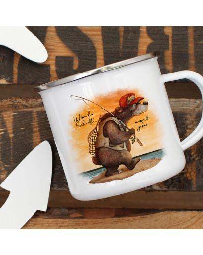 Emaille Becher Camping Tasse Angeler Bär Angel Spruch Wenn der Fisch ruft Kaffeetasse Geschenk Spruchbecher eb379