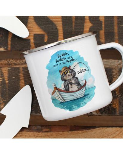Emaille Becher Camping Tasse Kater Katze Kätzchen Angelkater Angel Spruch Fischlein beiße sonst scheiße Kaffeetasse Geschenk Spruchbecher eb380