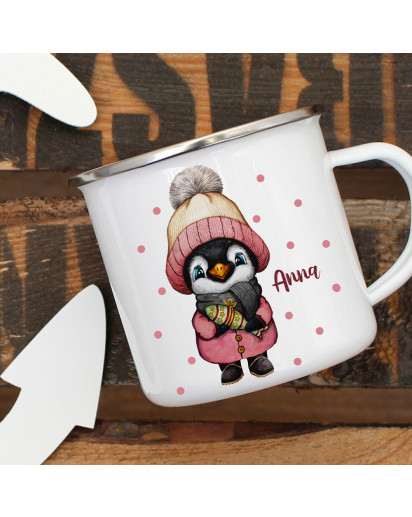 Emaillebecher Becher Tasse Camping Pinguin Mädchen Winter & Wunschname Name Kaffeetasse Geschenk eb569