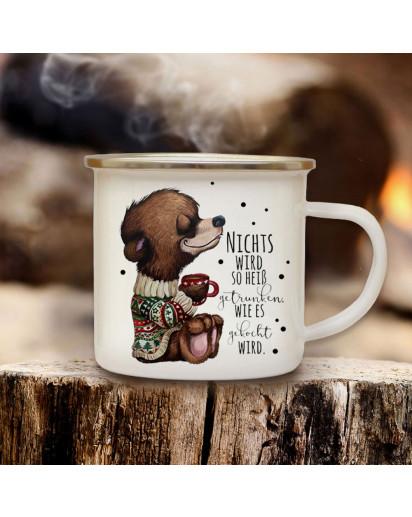 Emaillebecher Becher Tasse Camping Bär Bärchen mit Tasse & Wunschname Name Kaffeetasse Winter Geschenk eb574