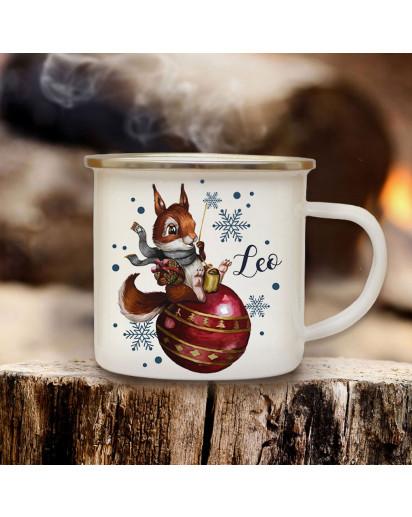 Emaillebecher Becher Tasse Camping Eichhörnchen mit Weihnachtskugel & Wunschname Name Kaffeetasse Winter Weihnachten Geschenk eb580