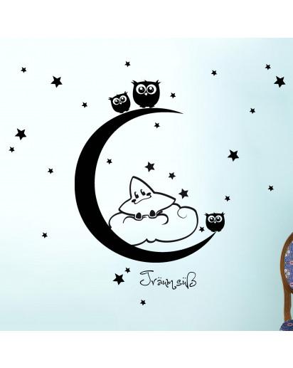 Wandtattoo Mond Sterne
