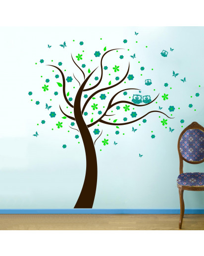 Wandtattoo Eulen Baum