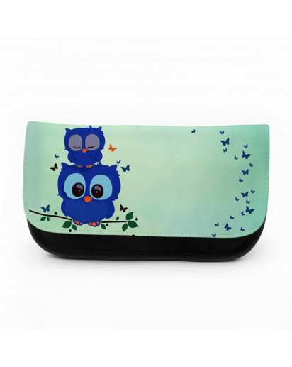 Federtasche Kosmetiktasche Eule Eulen auf Ast Zweig mit Schmetterlingen f039 Pencil case cosmetic bag Owls on branch with butterflies f039