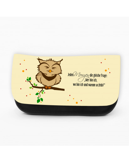 Federtasche Kosmetiktasche Eule Eulen auf Ast Zweig mit Spruch f048 Pencil case cosmetic bag owl on branch with saying f048