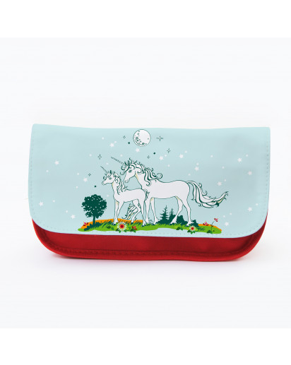 Federtasche Kosmetiktasche Einhorn Einhörner mit Sternen f072 Pencil case cosmetic bag unicorn with stars f072
