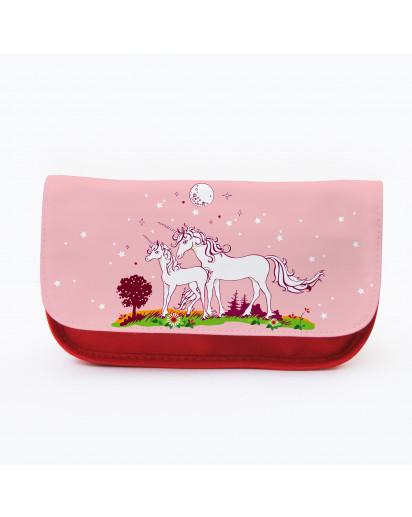 Federtasche Kosmetiktasche Einhorn Einhörner mit Sternen f073 Pencil case cosmetic bag unicorn with stars f073