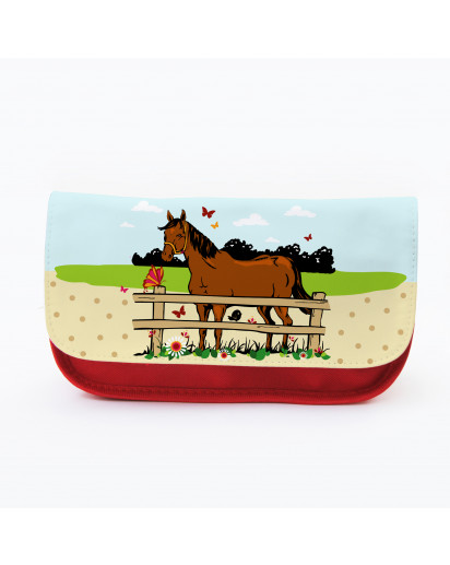 Federtasche Kosmetiktasche Pferd mit Schmetterlingen und Wiese f074 Pencil case cosmetic bag horse with butterflies and meadow f074