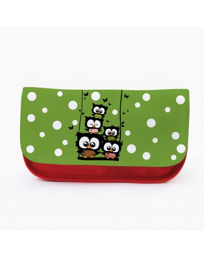 Federtasche Kosmetiktasche Eulen auf Schaukel mit Punkten und Schmetterlingen f078 Pencil case cosmetic bag owls on swing with dots and butterflies f078