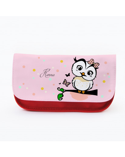 Federtasche Kosmetiktasche Eule auf Ast mit Punkten und Wunschnamen f082 Pencil case cosmetic owl on branch with desired names 082