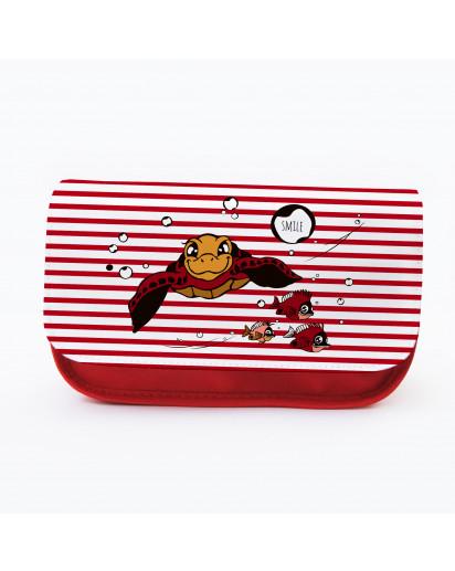 Federtasche Kosmetiktasche Schildkröte mit Fischen gestreift f084 Pencil case cosmetic bag turtle with fish 084