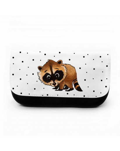Federtasche Kosmetiktasche Waschbär mit Punkten pencil case cosmetic bag raccoon with dots f090