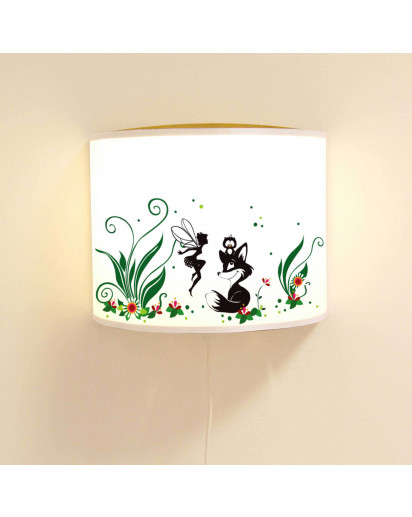 wandlampe schlummer lampe lese schlummerlicht fuchs eule und elfe fee mit blumen und punkten. Black Bedroom Furniture Sets. Home Design Ideas