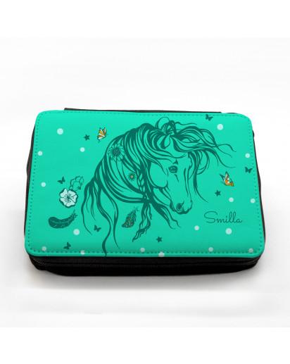 Gefüllte Federtasche Wildpferd Pferd mit Wunschnamen fm031 Filled pencil case wild horse horses with desired name fm031