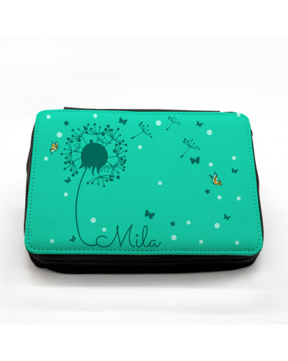 Gefüllte Federtasche Pusteblume mit Punkten Schmetterlingen und Wunschnamen fm032 Filled pencil case dandelion with butterflies points and desired name fm032