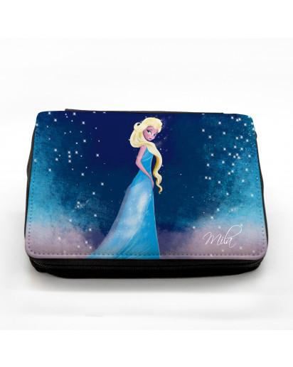Gefüllte Federtasche Prinzessin mit Sternenhimmel und Wunschnamen fm039 Filled pencil case frozen princess with starry sky and desired name fm039