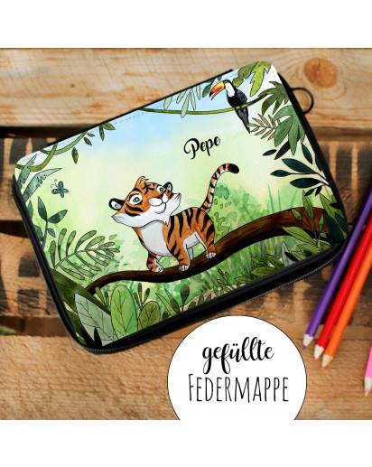 Gefüllte Federtasche mit Tiger im Dschungel Schulstart Federmappe individuelles Federmäppchenmit Namen Wunschnamen fm182