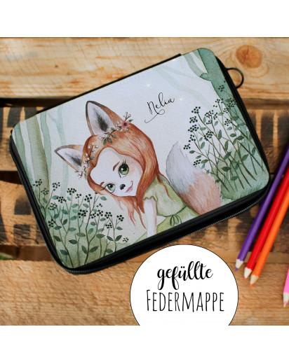 Gefüllte Federtasche mit Fuchsmädchen Fara Schulstart Federmappe individuelles Federmäppchen & Namen Wunschnamen fm186