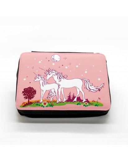 Hauptbild gefüllte Federtasche Einhörner auf Wiese Nachthimmel filled pencil case unicorns on meadow starlit sky