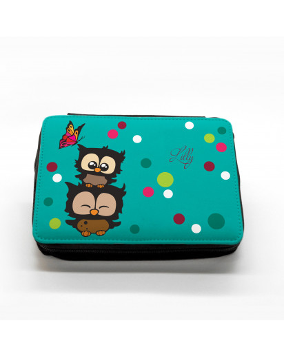 Hauptbild gefüllte Federtasche Eulen mit Punkten und Schmetterling filled pencil case owls with dots and butterfly