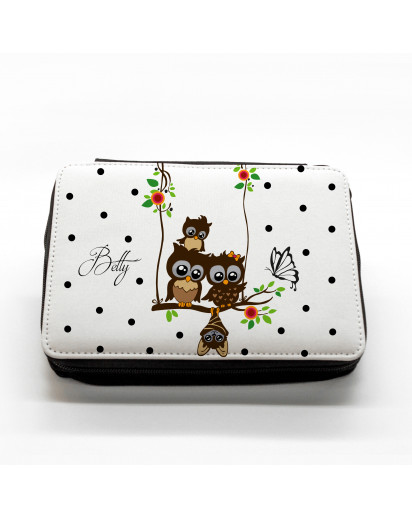 Hauptbild gefüllte Federtasche Eulen auf Schaukel mit Punkten und Schmetterling filled pencil case owls on swing with dots and butterfly