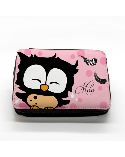 Hauptbild gefüllte Federtasche Eule mit Federn filled pencil case owl with feathers