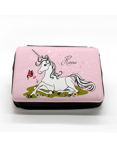 Hauptbild gefüllte Federtasche Einhorn auf Wiese mit Schmetterling filled pencil case unicorn on meadow with butterflies