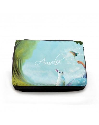 Gefüllte Federtasche Hase Kaninchen mit Kolibri Sommerlichter und Wunschnamen filled pencil case rabbit bunny coney with hummingbird summer lights and custom name fm047