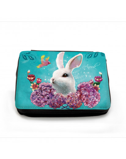 Gefüllte Federtasche Prinzessin mit Hase Kolibri Sommerlichter und Wunschnamen Filled pencil case princess with rabbit bunny hummingbird summer lights and custom name fm050