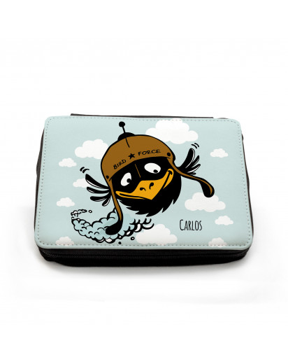 Gefüllte Federtasche fliegender Vogel Birdforce mit Wolken und Wunschnamen Filled pencil case flying bird bird force with clouds and custom name fm053