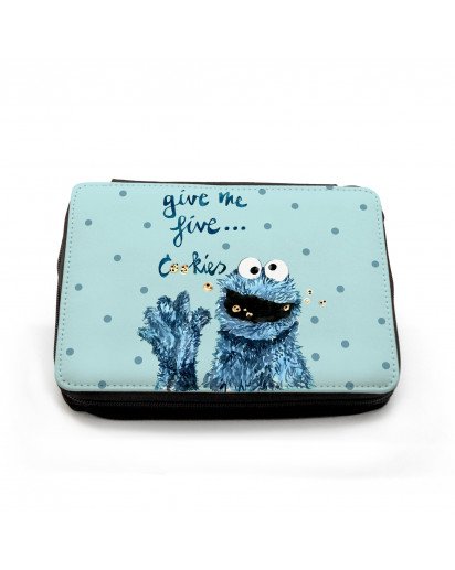 Gefüllte Federtasche Cookiemonster Kekse Krümel mit Punkten Filled pencil case cookiemonster cookies with dots fm055