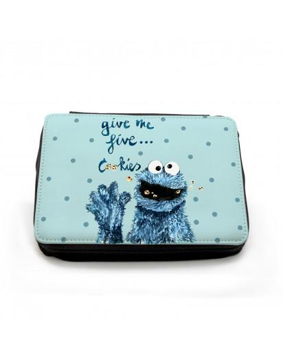 Gefüllte Federtasche Cookiemonster Kekse Krümel mit Punkten Filled pencil case cookiemonster cookies with dots fm055