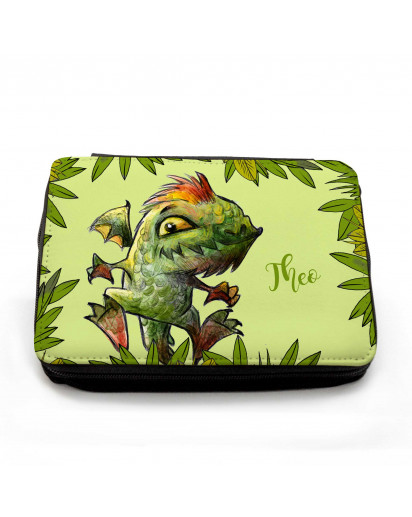 Gefüllte Federtasche Dino Drache im Dschungel mit Wunschnamen filled pencil case dinosaur dragon lizard in jungle with custom name fm070