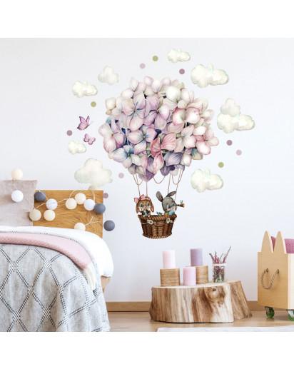 Wandtattoo Kinderzimmerdeko Heißluftballon Hortensie Blüten Ballon Häschen mit Wolken Schmetterlinge Deko Dekoration für Kinderzimmer fw16