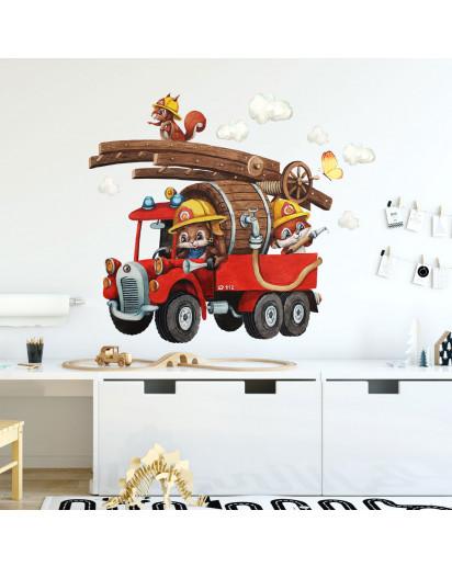 Wandtattoo Kinderzimmerdeko Feuerwehr Feuerwehrmann Tiere Häschen mit Wolken Schmetterlinge Deko Dekoration für Kinderzimmer fw23