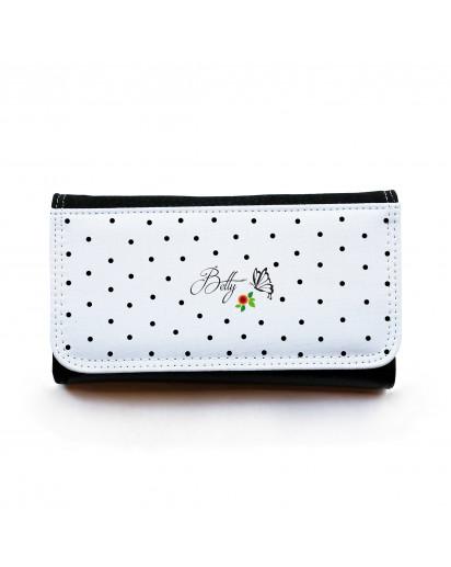 Portemonnaie große Geldbörse Brieftasche mit Punkten Schmetterling und Wunschnamen gbg021 Wallet big purse billfold with dots butterfly and desirable name gbg021