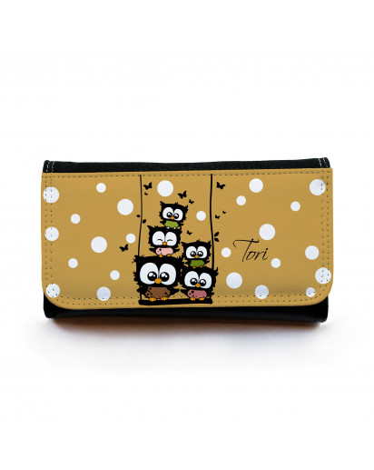 Portemonnaie große Geldbörse Brieftasche Eulchen auf Schaukel mit Punkten und Wunschnamen gbg023 Wallet big purse billfold little owls on swing with dots and desirable name gbg023