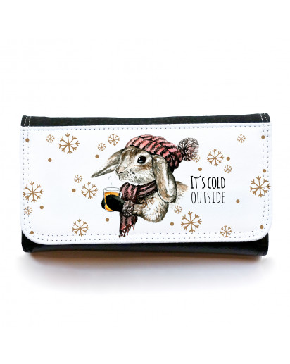 Portemonnaie große Geldbörse Brieftasche Hase Kaninchen mit Spruch It´s cold outside gbg028 Wallet big purse billfold bunny with saying it´s cold outside gbg028