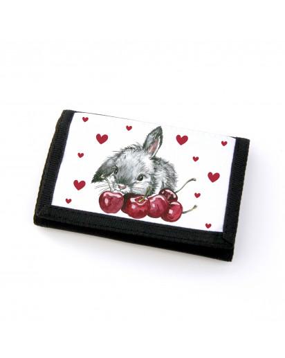 Portemonnaie Geldbörse Brieftasche Häschen mit Kirschen und Herzen gf20 Wallet purse billfold bunny with cherries and hearts gf20