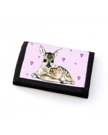 Portemonnaie Geldbörse Brieftasche Rehkitz mit Herzen gf21 Wallet purse billfold fawn with hearts gf21
